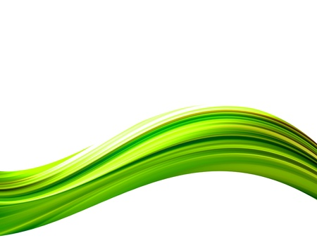 green and yellow: Green waves on white background. Abstract illustration Stock Photo