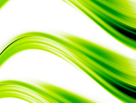 green dynamic waves on white background. abstract illustration Stock Illustration - 9697836