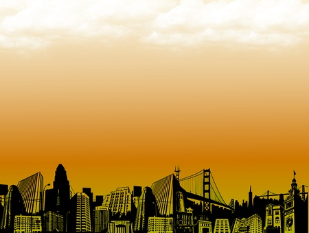 conceptual city at dusk with bright effects. Abstract illustration illustration