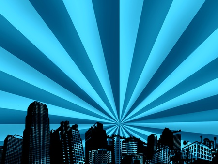 intertainment: conceptual city with bright and light effects. Abstract illustration