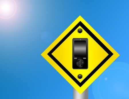 black cellphone yellow and black sign over sky background Stock Photo - 9781486