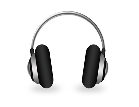 ear phones: gray headphone with shadow over white background Stock Photo