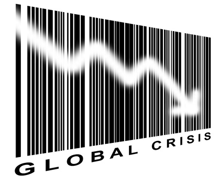 perpective: global crisis bar code with perpective effect Stock Photo