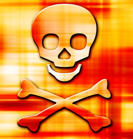 skull on orange striped background with bright effects. Abstract illustration illustration