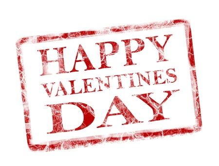 happy valentines day stamp on white background Stock Photo - 9781598