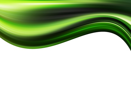 green wave on white background. Abstract illustration