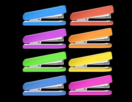 colored staplers isolated over black background.illustration illustration