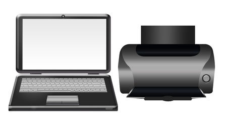 black computer and printer isolated over white background photo
