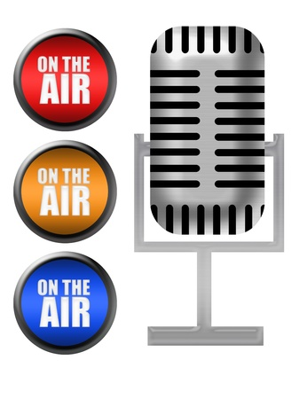 silver metallic microphone and on the air icons isolated over white background Stock Photo - 9781482