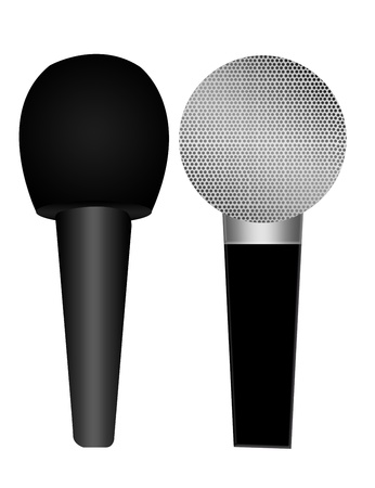 black and gray microphones isolated over white background photo