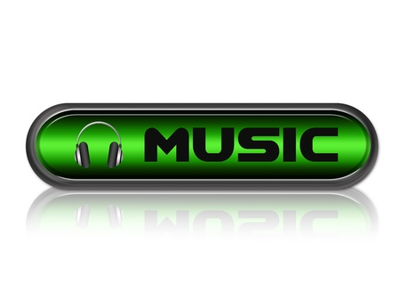 green and black music button with headphones over white background photo