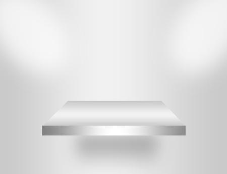 gray and white blank empty shelf with light.illustration Stock Illustration - 9781365