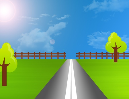 blue, green and gray road landscape over sky with sun.illustration Stock Illustration - 9781494