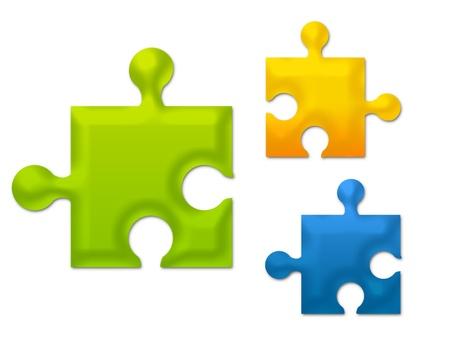 green, blue and orange metallic puzzle isolated over white background Stock Photo - 9781378