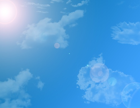 sun and sky illustration with clouds background Stock Illustration - 9781496