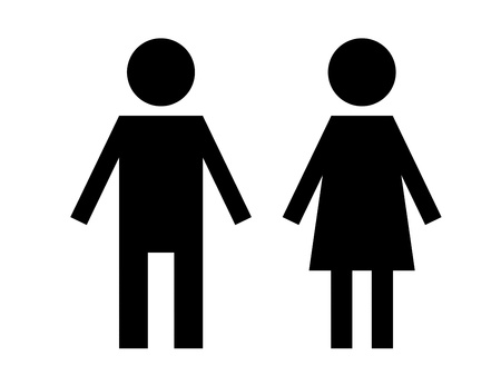 black  man and woman sign isolated over white background photo