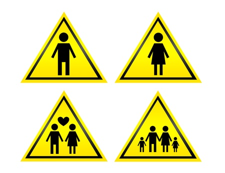foster: yellow and black sign isolated over white background Stock Photo