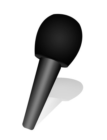 black microphone with shadow over white background photo
