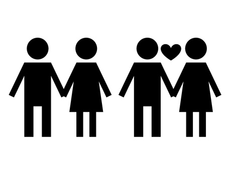 black girlfriend and boyfriend  sign isolated over white  background photo