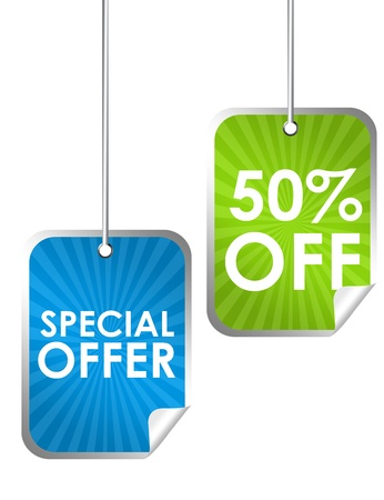 special: blue and green special offer labels isolated over white background