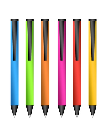 colored pens isolated over white background.illustration illustration