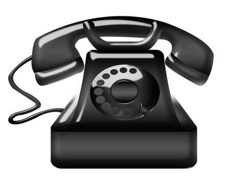 black phone illustration isolated over white background Stock Illustration - 9926526