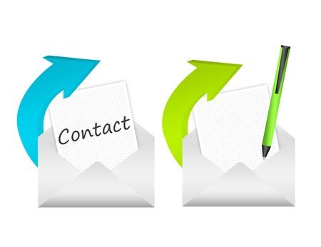 contact info: grigio, icona del contatto blu e verde isolato su sfondo bianco