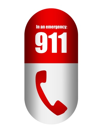 emergency call: red and white telephone sign capsule isolated over white background