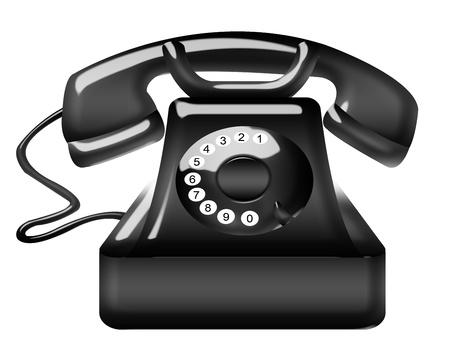 old black telephone isolated over white background Stock Photo - 9926539