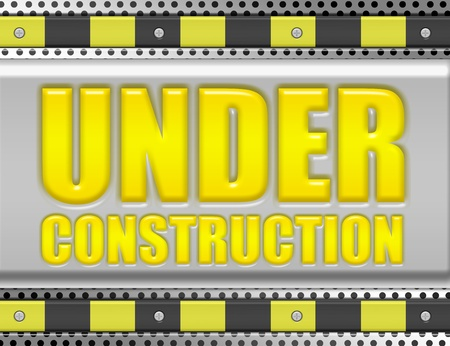 yellow, gray and black under construction over gray background.illustracion photo