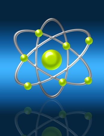 silver and green atom with reflection over blue background photo