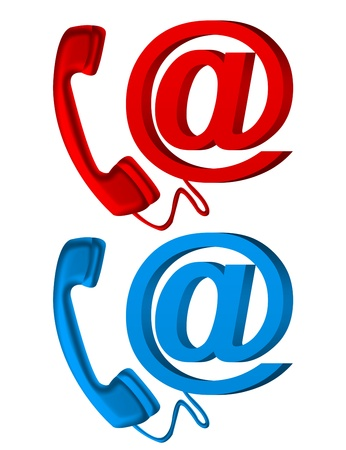 arroba: red and blue telephone and arroba icons over white background