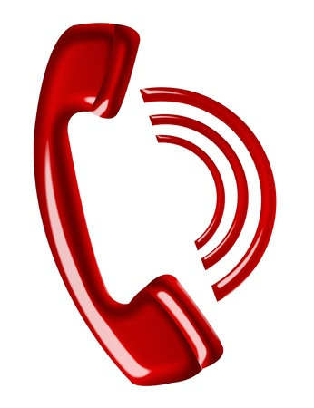 red telephone calling isolated over white background photo