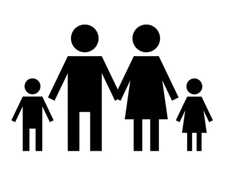 black family sign isolated over white background photo