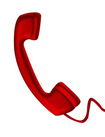 Rode telefoon geïsoleerd over witte background.illustration