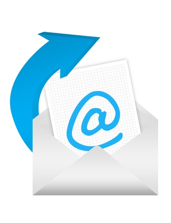 email contact: blue and white e-mail adress over white background Stock Photo