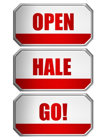 hale: red and white open, hale and go door sign  with silver metallic edge over white background