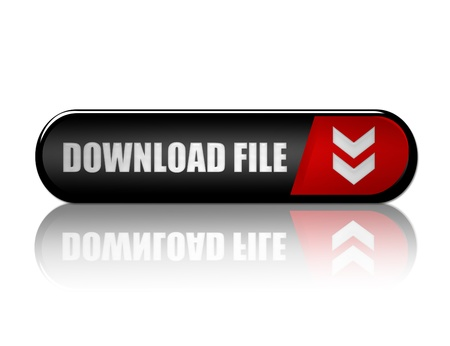 black, red and white download file button with reflection over white background photo