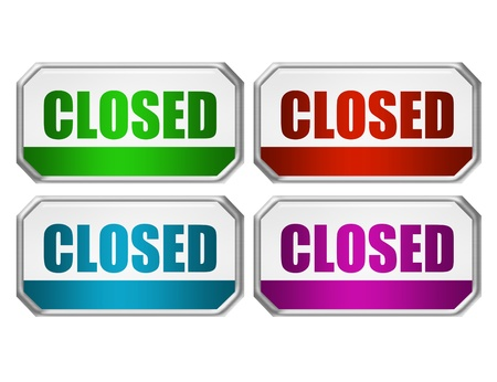 green, red, blue and violet closed door sign with metallic edge over white background photo