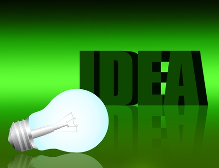 electric bulb, green idea text over green background Stock Photo - 9926533