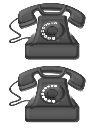 black old telephone isolated over white background. illustration Stock Illustration - 9926520