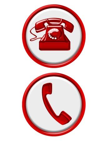 boutons de t�l�phone rouge et blanc isol�es sur fond blanc Banque d'images