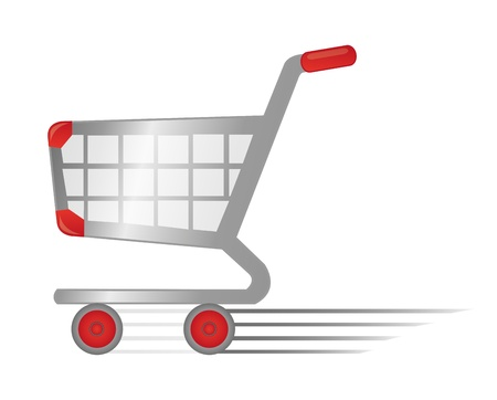 red retail: red and silver rapid shopping cart isolated over white background