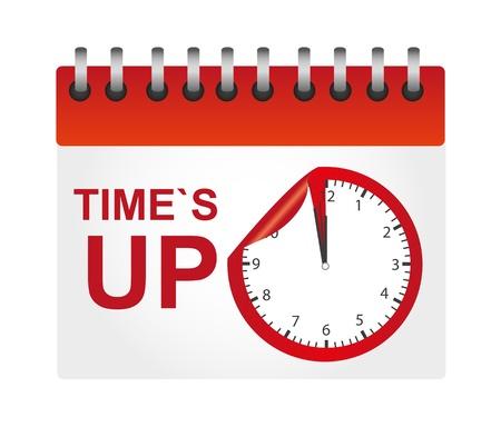 white bacground: calendario de rojo y blanco veces es hasta con reloj aislado sobre el fundamento blanco Vectores