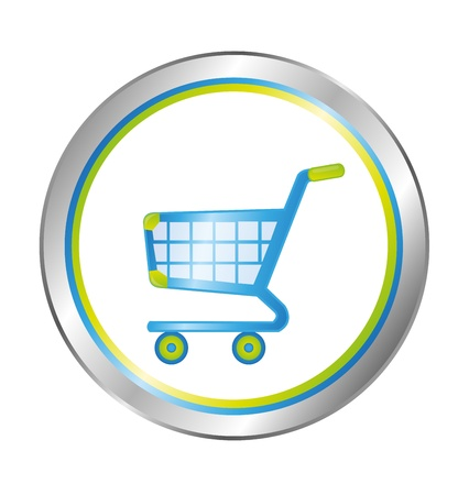 shopping center: blue, green and silver shopping cart button isolated over white background