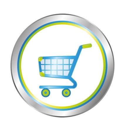 agregar: de compras azul, verde y plata bot�n de compra aislados sobre fondo blanco