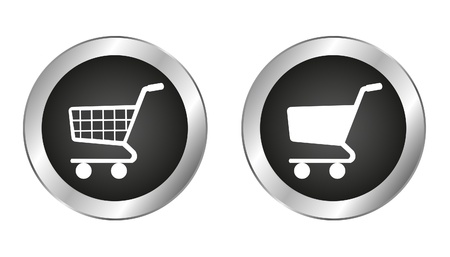 pushbuttons: silver and black shopping cart button isolated over white background