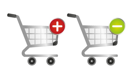 minus sign: shopping cart and more and minus sign over white background Illustration