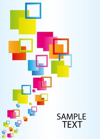 decor graphic: colori piazza astratto su sfondo blu e bianco. illustrazione