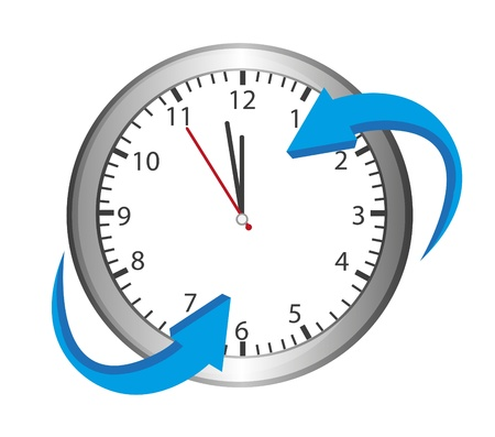 silver clock with blue arrow isolated over white background Vector